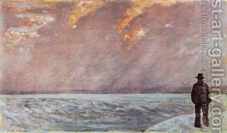 Sonnenuntergang am Meer by Giovanni Fattori - Reproduction Oil Painting