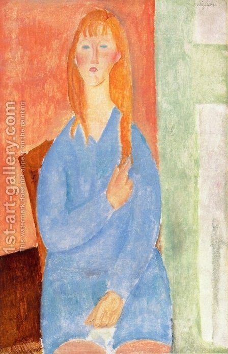 Girl in Blue by Amedeo Modigliani - Reproduction Oil Painting