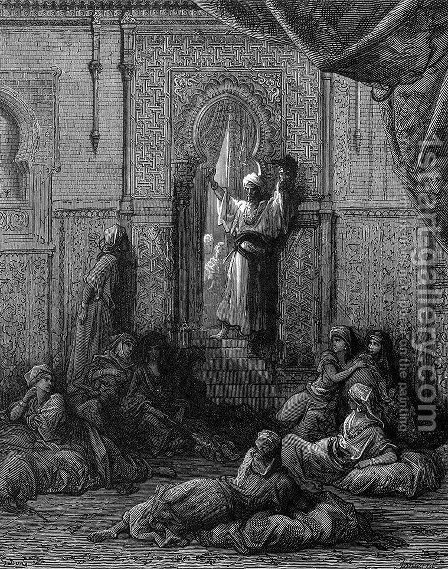 The Emir's Head Shown in the Seraglio by Gustave Dore - Reproduction Oil Painting