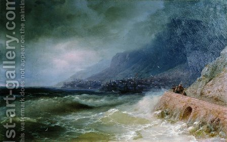 Surf near coast of Crimea 2 by Ivan Konstantinovich Aivazovsky - Reproduction Oil Painting