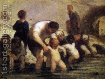 The Children with the bath by Honoré Daumier - Reproduction Oil Painting
