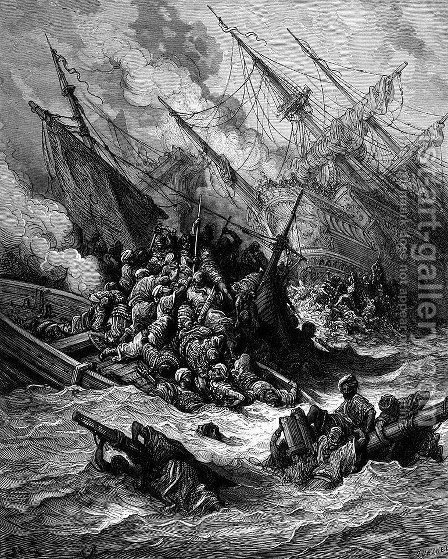 Battle of Lepanto in 1571 by Gustave Dore - Reproduction Oil Painting