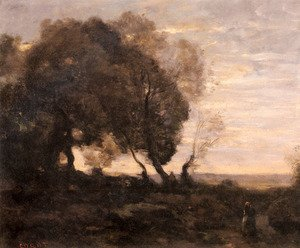 Reproduction oil paintings - Jean-Baptiste-Camille Corot - Twisted Trees on a Ridge (Sunset)
