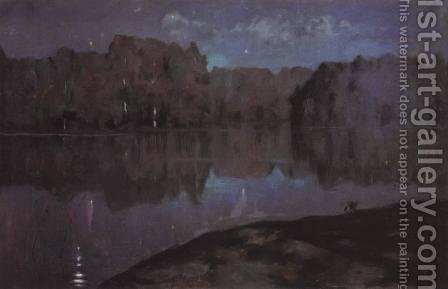 Night. Riverbank. by Isaak Ilyich Levitan - Reproduction Oil Painting