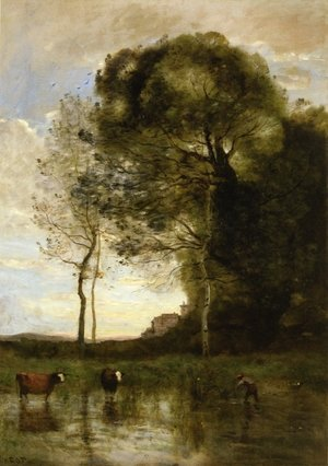 Reproduction oil paintings - Jean-Baptiste-Camille Corot - Banks of a Pond in Normandy