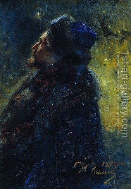 Portrait of painter Viktor Mikhailovich Vasnetsov. Study for the picture Sadko in the Underwater Kingdom. by Ilya Efimovich Efimovich Repin - Reproduction Oil Painting