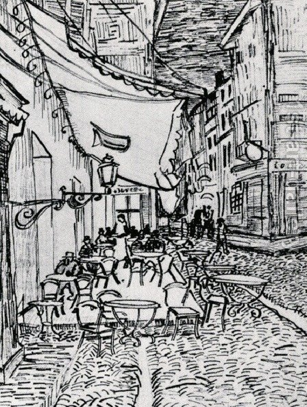 Sketch for The Cafe Terrace At Night by Vincent Van Gogh - Reproduction Oil Painting
