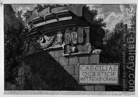 The Roman antiquities, t. 3, Plate LI. Part of the facade of the Tomb of Cecilia Metella Take ornaments that exist today. by Giovanni Battista Piranesi - Reproduction Oil Painting