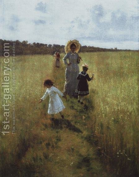 On the boundary path. V.A. Repina with children going on the boundary path by Ilya Efimovich Efimovich Repin - Reproduction Oil Painting