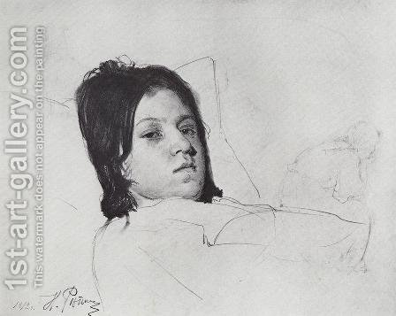 Woman's Head (V.A. Repina lying in bed) by Ilya Efimovich Efimovich Repin - Reproduction Oil Painting