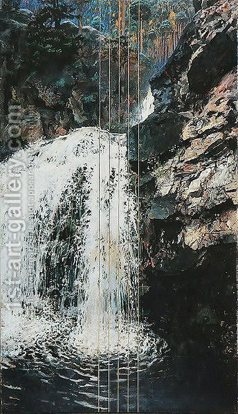 Mantykoski Waterfall by Akseli Valdemar Gallen-Kallela - Reproduction Oil Painting
