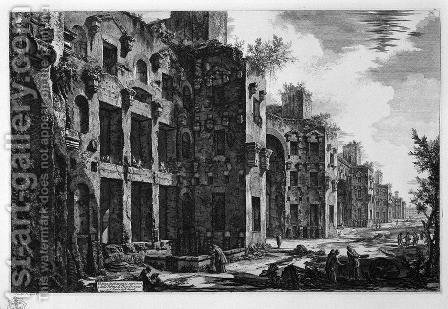 View the remains of the Baths of Diocletian than to St. Mary of the Angels by Giovanni Battista Piranesi - Reproduction Oil Painting