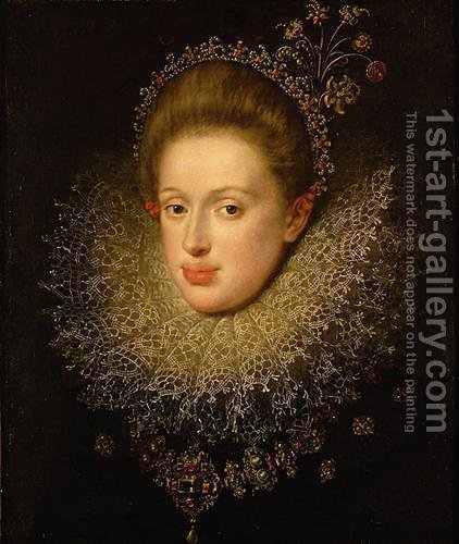 Portrait of Anna of Austria (1585-1618) by Hans Von Aachen - Reproduction Oil Painting