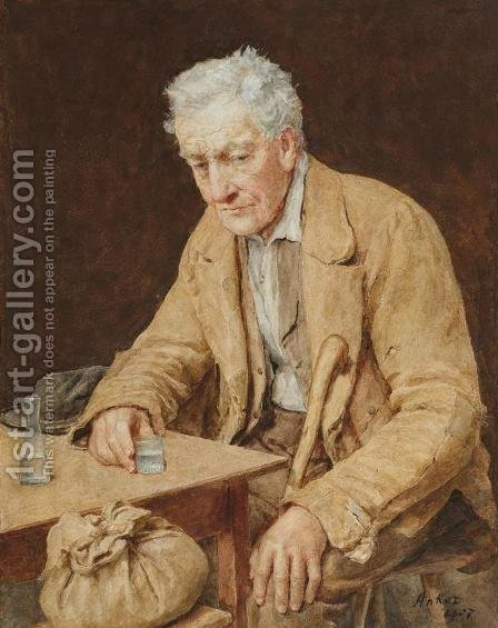 The absinthe drinker by Albert Anker - Reproduction Oil Painting