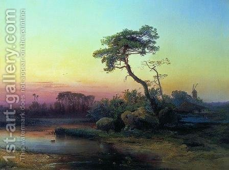 Landscape with pine by Alexei Kondratyevich Savrasov - Reproduction Oil Painting