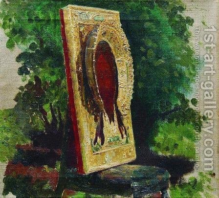 Sketch with the icon of Saviour by Ilya Efimovich Efimovich Repin - Reproduction Oil Painting