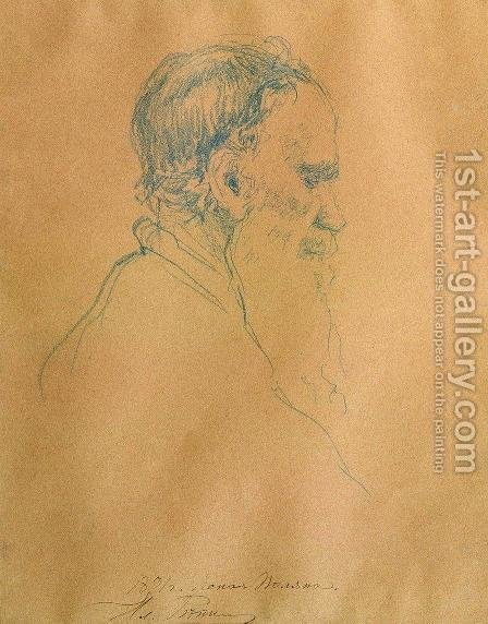 Portrait of Levo Tolstoy by Ilya Efimovich Efimovich Repin - Reproduction Oil Painting