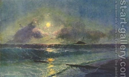 The Moonrize in Feodosiya by Ivan Konstantinovich Aivazovsky - Reproduction Oil Painting