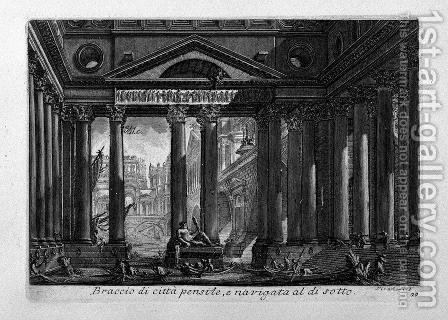 Porches pulled around a hole of the Royal Palace by Giovanni Battista Piranesi - Reproduction Oil Painting