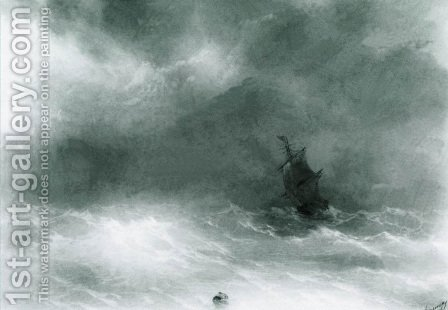 Strong wind by Ivan Konstantinovich Aivazovsky - Reproduction Oil Painting