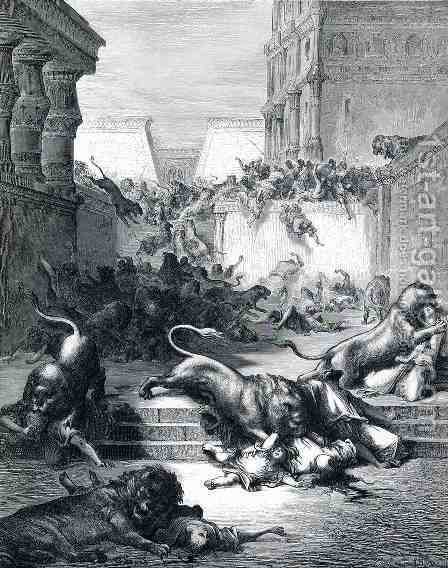 Foreign Nations Are Slain by Lions in Samaria by Gustave Dore - Reproduction Oil Painting
