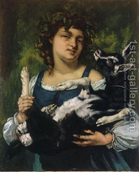 The Village Girl with a Goatling by Gustave Courbet - Reproduction Oil Painting