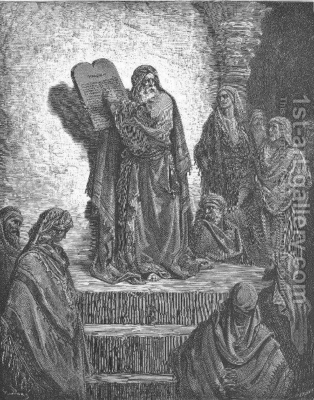 Ezra Reads the Law to the People by Gustave Dore - Reproduction Oil Painting