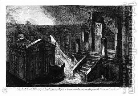 Cornerstones of a gateway by Giovanni Battista Piranesi - Reproduction Oil Painting