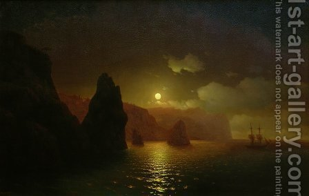 The monastery of George. Cape Fiolent by Ivan Konstantinovich Aivazovsky - Reproduction Oil Painting