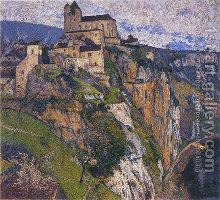 Saint Cirq Lapopie in the Rain by Henri Martin - Reproduction Oil Painting