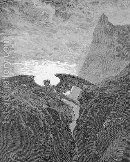 Plate no. 26 Book VI line 406 'Now Night her Course began..' by Gustave Dore - Reproduction Oil Painting