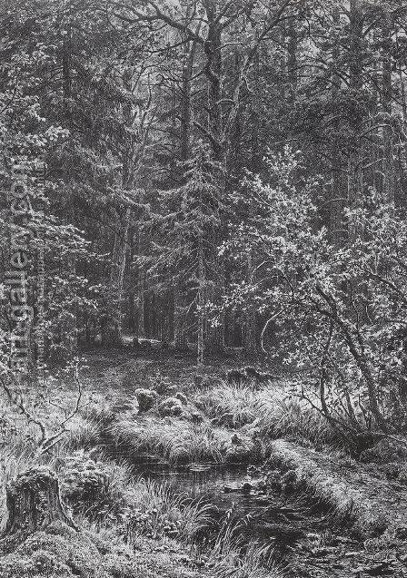 Forest swamp by Ivan Shishkin - Reproduction Oil Painting