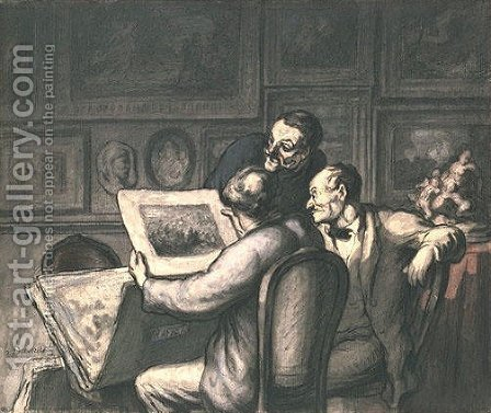 Lovers of prints by Honoré Daumier - Reproduction Oil Painting