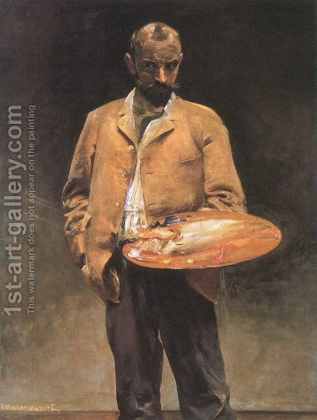 Self-portrait with palette by Jacek Malczewski - Reproduction Oil Painting