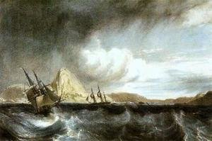Famous paintings of Ships & Boats: Entrance into the harbour of Rio de Janeiro