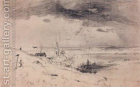 The old churchyard on the banks of the Volga by Alexei Kondratyevich Savrasov - Reproduction Oil Painting