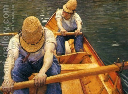 Boaters Rowing on the Yerres by Gustave Caillebotte - Reproduction Oil Painting