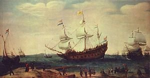 Famous paintings of Nautical: The Departure of the East Indiamen