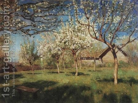 Apple trees in blossom 2 by Isaak Ilyich Levitan - Reproduction Oil Painting