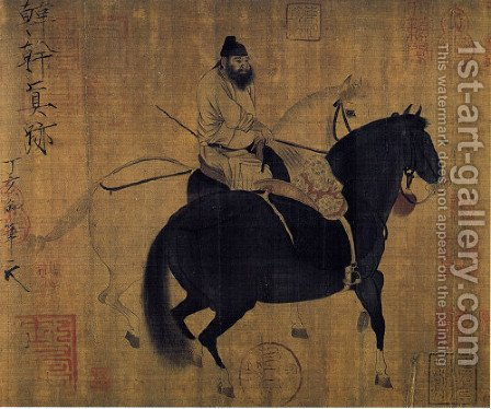 Groom leading two horses by Huizong Emperor - Reproduction Oil Painting