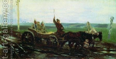 Under escort. On the muddy road by Ilya Efimovich Efimovich Repin - Reproduction Oil Painting