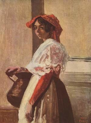 Reproduction oil paintings - Jean-Baptiste-Camille Corot - Italian with Mug