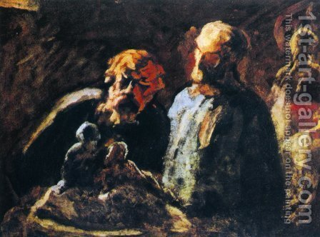 Two Sculptors by Honoré Daumier - Reproduction Oil Painting