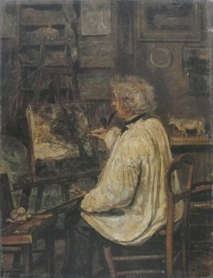 Reproduction oil paintings - Jean-Baptiste-Camille Corot - Corot Painting in the Studio of his Friend, Painter Constant Dutilleux