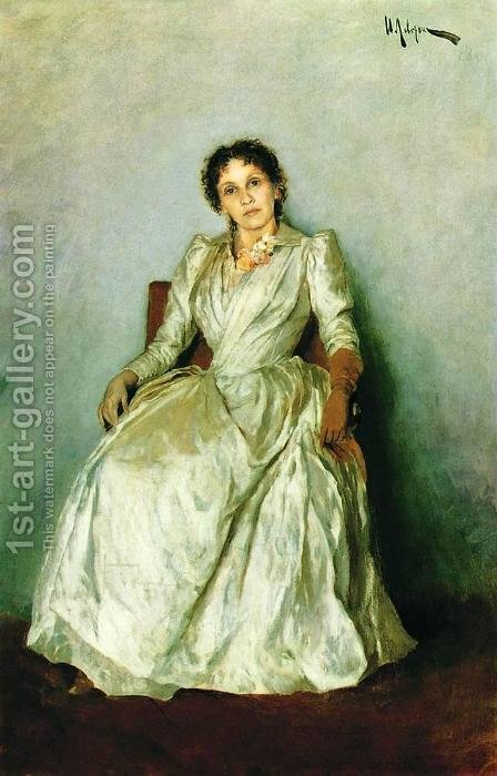Portrait of Sofia Petrovna Kuvshinnikov 2 by Isaak Ilyich Levitan - Reproduction Oil Painting