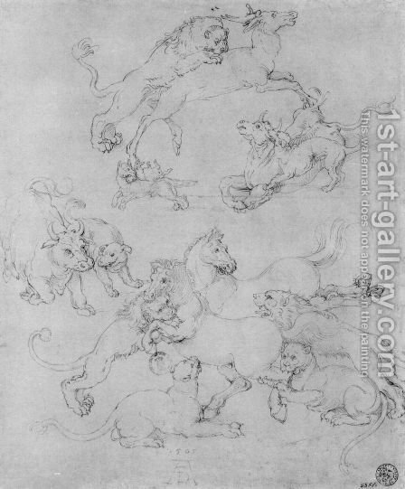 Study sheet with the attacked animals by Albrecht Durer - Reproduction Oil Painting