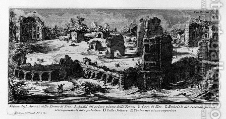 The Roman antiquities, t. 1, Plate XXVIII. Baths of Titus (really the Baths of Traianus). by Giovanni Battista Piranesi - Reproduction Oil Painting