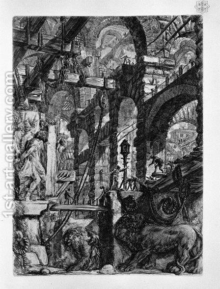 The Lion Bas-Reliefs by Giovanni Battista Piranesi - Reproduction Oil Painting
