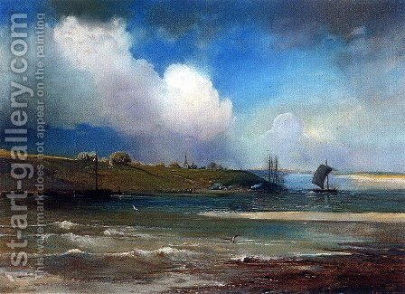 View of Volga near Yurievts by Alexei Kondratyevich Savrasov - Reproduction Oil Painting