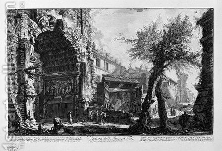View of the Arch of Titus 2 by Giovanni Battista Piranesi - Reproduction Oil Painting